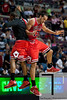 April 15, 2012; Auburn Hills, MI, USA; Chicago Bulls center Joakim Noah (13) celebrates with a teammate during overtime against the Detroit Pistons at The Palace. Chicago won 100-94 in overtime. Mandatory Credit: Tim Fuller-US PRESSWIRE
