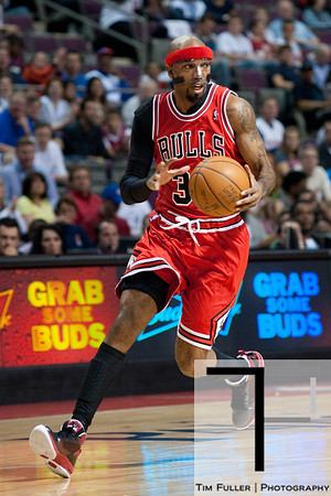 April 15, 2012; Auburn Hills, MI, USA; Chicago Bulls shooting guard Richard Hamilton (32) brings the ball up court during the first quarter against the Detroit Pistons at The Palace. Mandatory Credit: Tim Fuller-US PRESSWIRE
