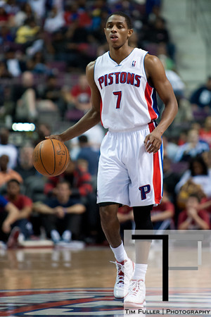 April 15, 2012; Auburn Hills, MI, USA; Detroit Pistons point guard Brandon Knight (7) brings the ball up court during the third quarter against the Chicago Bulls at The Palace. Chicago won 100-94 in overtime. Mandatory Credit: Tim Fuller-US PRESSWIRE