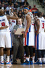 April 15, 2012; Auburn Hills, MI, USA; Detroit Pistons head coach Lawrence Frank (center) talks to small forward Damien Wilkins (9), power forward Charlie Villanueva (third from left), and point guard Rodney Stuckey (3) during a timeout in the fourth quarter against the Chicago Bulls at The Palace. Chicago won 100-94 in overtime. Mandatory Credit: Tim Fuller-US PRESSWIRE