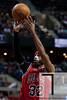April 15, 2012; Auburn Hills, MI, USA; Chicago Bulls shooting guard Richard Hamilton (32) takes a jump shot during the first quarter against the Detroit Pistons at The Palace. Mandatory Credit: Tim Fuller-US PRESSWIRE