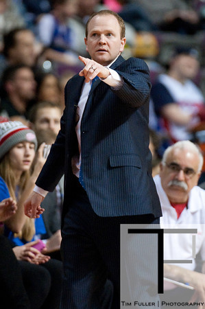 Feb 1, 2013; Auburn Hills, MI, USA; Detroit Pistons head coach Lawrence Frank during the second quarter against the Cleveland Cavaliers at The Palace. Mandatory Credit: Tim Fuller-USA TODAY Sports