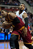 Feb 1, 2013; Auburn Hills, MI, USA; Cleveland Cavaliers shooting guard C.J. Miles (0) drives to the basket against Detroit Pistons center Andre Drummond (1) during the second quarter at The Palace. Mandatory Credit: Tim Fuller-USA TODAY Sports