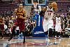 Feb 1, 2013; Auburn Hills, MI, USA; Detroit Pistons center Greg Monroe (10) brings the ball up court against Cleveland Cavaliers point guard Shaun Livingston (14) during the fourth quarter at The Palace. Detroit won 117-99. Mandatory Credit: Tim Fuller-USA TODAY Sports
