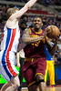 Feb 1, 2013; Auburn Hills, MI, USA; Cleveland Cavaliers small forward Alonzo Gee (33) drives to the basket against Detroit Pistons shooting guard Kyle Singler (25) during the first quarter at The Palace. Mandatory Credit: Tim Fuller-USA TODAY Sports