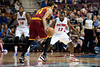 Feb 1, 2013; Auburn Hills, MI, USA; Detroit Pistons point guard Will Bynum (12) guards Cleveland Cavaliers point guard Shaun Livingston (14) during the fourth quarter at The Palace. Detroit won 117-99. Mandatory Credit: Tim Fuller-USA TODAY Sports