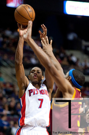 Feb 1, 2013; Auburn Hills, MI, USA; Detroit Pistons point guard Brandon Knight (7) during the fourth quarter against the Cleveland Cavaliers at The Palace. Detroit won 117-99. Mandatory Credit: Tim Fuller-USA TODAY Sports