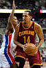 Feb 1, 2013; Auburn Hills, MI, USA; Cleveland Cavaliers point guard Shaun Livingston (14) drives past Detroit Pistons shooting guard Kim English (24) during the second quarter at The Palace. Mandatory Credit: Tim Fuller-USA TODAY Sports