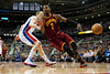 Feb 1, 2013; Auburn Hills, MI, USA; Cleveland Cavaliers point guard Kyrie Irving (2) looses the ball while being guarded by Detroit Pistons shooting guard Kyle Singler (25) during the second quarter at The Palace. Mandatory Credit: Tim Fuller-USA TODAY Sports