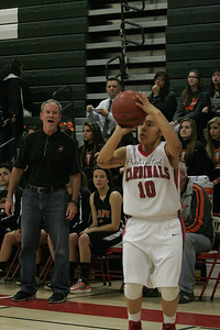 Christina Castro (10) shoots a three-point shot as Coalinga Coach Mike Walker watches. 2-19-13