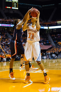 February 21, 2013: forward Cierra Burdick #11 of the Tennessee Lady Volunteers attempts to shoot during the NCAA basketball game between the University of Tennessee  Lady Volunteers and the Auburn Tigers at Thompson-Boling Arena in Knoxville, TN