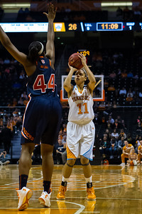 February 21, 2013: forward Cierra Burdick #11 of the Tennessee Lady Volunteers shoots over Tra'Cee Tanner #44 of the Auburn Tigers during the NCAA basketball game between the University of Tennessee  Lady Volunteers and the Auburn Tigers at Thompson-Boling Arena in Knoxville, TN