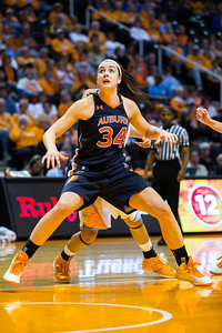 February 21, 2013: Peyton Davis 34 of the Auburn Tigers battles for position during the NCAA basketball game between the University of Tennessee  Lady Volunteers and the Auburn Tigers at Thompson-Boling Arena in Knoxville, TN