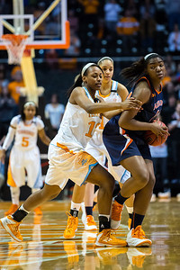 February 21, 2013:  the NCAA basketball game between the University of Tennessee  Lady Volunteers and the Auburn Tigers at Thompson-Boling Arena in Knoxville, TN