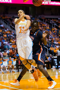 February 21, 2013: forward Cierra Burdick #11 of the Tennessee Lady Volunteers passes the ball during the NCAA basketball game between the University of Tennessee  Lady Volunteers and the Auburn Tigers at Thompson-Boling Arena in Knoxville, TN