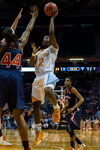 February 21, 2013:  forward Jasmine Jones #2 of the Tennessee Lady Volunteers shoots over Tra'Cee Tanner #44 of the Auburn Tigers during during the NCAA basketball game between the University of Tennessee  Lady Volunteers and the Auburn Tigers at Thompson-Boling Arena in Knoxville, TN