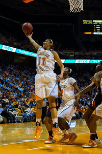 February 21, 2013: forward Cierra Burdick #11 of the Tennessee Lady Volunteers grabs a rebound during the NCAA basketball game between the University of Tennessee  Lady Volunteers and the Auburn Tigers at Thompson-Boling Arena in Knoxville, TN