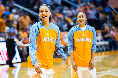 February 21, 2013: forward Cierra Burdick #11 of the Tennessee Lady Volunteers and guard Meighan Simmons #10 of the Tennessee Lady Volunteers before the NCAA basketball game between the University of Tennessee  Lady Volunteers and the Auburn Tigers at Thompson-Boling Arena in Knoxville, TN
