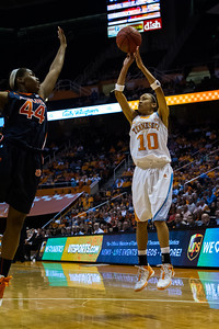 February 21, 2013: guard Meighan Simmons #10 of the Tennessee Lady Volunteers shoots the ball over Tra'Cee Tanner #44 of the Auburn Tigers during the NCAA basketball game between the University of Tennessee  Lady Volunteers and the Auburn Tigers at Thompson-Boling Arena in Knoxville, TN