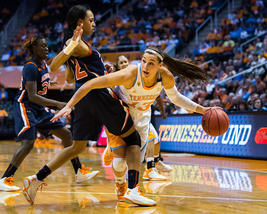 February 21, 2013:  guard Taber Spani #13 of the Tennessee Lady Volunteers drives to the basket against Tyrese Tanner #32 of the Auburn Tigers during the NCAA basketball game between the University of Tennessee  Lady Volunteers and the Auburn Tigers at Thompson-Boling Arena in Knoxville, TN