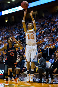 February 21, 2013: guard Meighan Simmons #10 of the Tennessee Lady Volunteers shoots the ball during the NCAA basketball game between the University of Tennessee  Lady Volunteers and the Auburn Tigers at Thompson-Boling Arena in Knoxville, TN