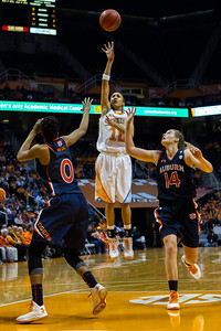 February 21, 2013:  guard Meighan Simmons #10 of the Tennessee Lady Volunteers shoots over Hasina Muhammad #0 and Blanche Alverson #14 of the Auburn Tigers during the NCAA basketball game between the University of Tennessee  Lady Volunteers and the Auburn Tigers at Thompson-Boling Arena in Knoxville, TN