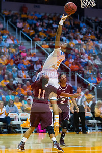 January 28, 2013:  guard Kamiko Williams #4 of the Tennessee Lady Volunteers shoots over guard Katia May #11 of the Mississippi State Lady Bulldogs during the NCAA basketball game between the University of Tennessee  Lady Volunteers and Mississippi State University Lady Bulldogs at Thompson-Boling Arena in Knoxville, TN