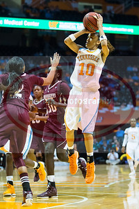 January 28, 2013:  guard Meighan Simmons #10 of the Tennessee Lady Volunteers shoots the ball during the NCAA basketball game between the University of Tennessee  Lady Volunteers and Mississippi State University Lady Bulldogs at Thompson-Boling Arena in Knoxville, TN
