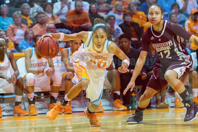 January 28, 2013:  guard Meighan Simmons #10 of the Tennessee Lady Volunteers drives past guard Candace Foster #12 of the Mississippi State Lady Bulldogs during the NCAA basketball game between the University of Tennessee  Lady Volunteers and Mississippi State University Lady Bulldogs at Thompson-Boling Arena in Knoxville, TN