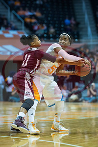 January 28, 2013: point guard Ariel Massengale #5 of the Tennessee Lady Volunteers is guarded by guard Katia May #11 of the Mississippi State Lady Bulldogs during the NCAA basketball game between the University of Tennessee  Lady Volunteers and Mississippi State University Lady Bulldogs at Thompson-Boling Arena in Knoxville, TN