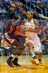 January 28, 2013: forward Bashaara Graves #12 of the Tennessee Lady Volunteers drives past Center Martha Alwai #10 of the Mississippi State Lady Bulldogs during the NCAA basketball game between the University of Tennessee  Lady Volunteers and Mississippi State University Lady Bulldogs at Thompson-Boling Arena in Knoxville, TN