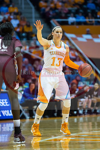 January 28, 2013:  guard Taber Spani #13 of the Tennessee Lady Volunteers calls out a play during the NCAA basketball game between the University of Tennessee  Lady Volunteers and Mississippi State University Lady Bulldogs at Thompson-Boling Arena in Knoxville, TN