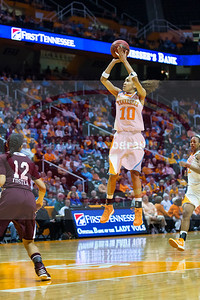 January 28, 2013: guard Meighan Simmons #10 of the Tennessee Lady Volunteers shoots over guard Candace Foster #12 of the Mississippi State Lady Bulldogs during the NCAA basketball game between the University of Tennessee  Lady Volunteers and Mississippi State University Lady Bulldogs at Thompson-Boling Arena in Knoxville, TN