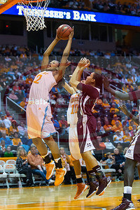January 28, 2013:  forward Bashaara Graves #12 of the Tennessee Lady Volunteers grabs a rebound during the NCAA basketball game between the University of Tennessee  Lady Volunteers and Mississippi State University Lady Bulldogs at Thompson-Boling Arena in Knoxville, TN