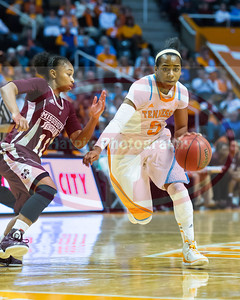 January 28, 2013:  point guard Ariel Massengale #5 of the Tennessee Lady Volunteers drives to the basket against guard Katia May #11 of the Mississippi State Lady Bulldogs during the NCAA basketball game between the University of Tennessee  Lady Volunteers and Mississippi State University Lady Bulldogs at Thompson-Boling Arena in Knoxville, TN
