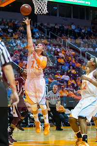 January 28, 2013:  guard Taber Spani #13 of the Tennessee Lady Volunteers lays the ball up during the NCAA basketball game between the University of Tennessee  Lady Volunteers and Mississippi State University Lady Bulldogs at Thompson-Boling Arena in Knoxville, TN