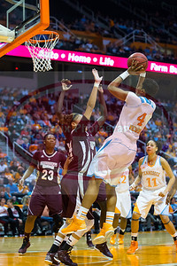 January 28, 2013:  guard Kamiko Williams #4 of the Tennessee Lady Volunteers shoots the ball during the NCAA basketball game between the University of Tennessee  Lady Volunteers and Mississippi State University Lady Bulldogs at Thompson-Boling Arena in Knoxville, TN