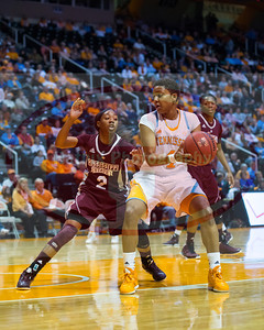 January 28, 2013: guard Kamiko Williams #4 of the Tennessee Lady Volunteers drives to the basket against guard Darriel Gaynor #2 of the Mississippi State Lady Bulldogs during the NCAA basketball game between the University of Tennessee  Lady Volunteers and Mississippi State University Lady Bulldogs at Thompson-Boling Arena in Knoxville, TN