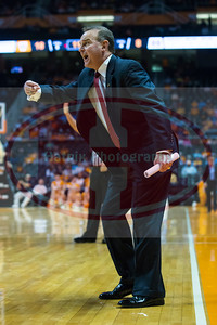 January 28, 2013: Lady Bulldog Head Coach Vic Schaefer reacts during the NCAA basketball game between the University of Tennessee  Lady Volunteers and Mississippi State University Lady Bulldogs at Thompson-Boling Arena in Knoxville, TN