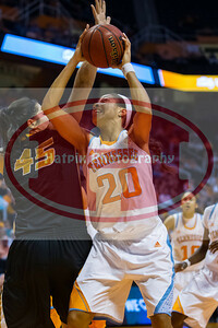 January 10, 2013: center Isabelle Harrison #20 of the Tennessee Lady Volunteers during the NCAA basketball game between the University of Tennessee  Lady Vols and the University of Missouri Tigers at Thompson-Boling Arena in Knoxville, TN