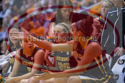 January 10, 2013: Misouri players during the NCAA basketball game between the University of Tennessee  Lady Vols and the University of Missouri Tigers at Thompson-Boling Arena in Knoxville, TN