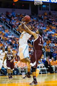 February 28, 2013:  forward Bashaara Graves #12 of the Tennessee Lady Volunteers shoots the ball against Courtney Williams #1 of the Texas A&M Aggies during the NCAA basketball game between the University of Tennessee  Lady Volunteers and the Texas A&M Aggies at Thompson-Boling Arena in Knoxville, TN