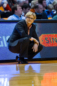 February 28, 2013:  head coach Holly Warlick reacts to a call during the NCAA basketball game between the University of Tennessee  Lady Volunteers and the Texas A&M Aggies at Thompson-Boling Arena in Knoxville, TN
