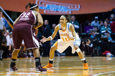 February 28, 2013: guard Meighan Simmons #10 of the Tennessee Lady Volunteers defends during the NCAA basketball game between the University of Tennessee  Lady Volunteers and the Texas A&M Aggies at Thompson-Boling Arena in Knoxville, TN