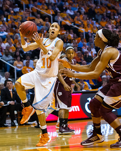 February 28, 2013:  guard Meighan Simmons #10 of the Tennessee Lady Volunteers shoots the ball during the NCAA basketball game between the University of Tennessee  Lady Volunteers and the Texas A&M Aggies at Thompson-Boling Arena in Knoxville, TN