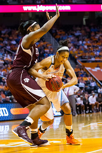February 28, 2013:  center Isabelle Harrison #20 of the Tennessee Lady Volunteers drives to the basket against Karla Gilbert #34 of the Texas A&M Aggies during the NCAA basketball game between the University of Tennessee  Lady Volunteers and the Texas A&M Aggies at Thompson-Boling Arena in Knoxville, TN
