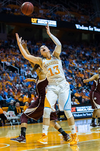 February 28, 2013: guard Taber Spani #13 of the Tennessee Lady Volunteers grabs a pass during the NCAA basketball game between the University of Tennessee  Lady Volunteers and the Texas A&M Aggies at Thompson-Boling Arena in Knoxville, TN