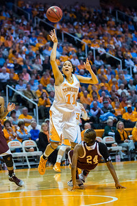 February 28, 2013:  forward Cierra Burdick #11 of the Tennessee Lady Volunteers is called for a charge against Jordan Jones #24 of the Texas A&M Aggies during the NCAA basketball game between the University of Tennessee  Lady Volunteers and the Texas A&M Aggies at Thompson-Boling Arena in Knoxville, TN