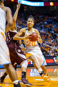 February 28, 2013:  center Isabelle Harrison #20 of the Tennessee Lady Volunteers drives to the basket against Kristi Bellock #5 of the Texas A&M Aggies during the NCAA basketball game between the University of Tennessee  Lady Volunteers and the Texas A&M Aggies at Thompson-Boling Arena in Knoxville, TN