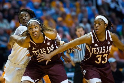 February 28, 2013: guard Meighan Simmons #10 of the Tennessee Lady Volunteers shoots the ball against Courtney Walker #33 of the Texas A&M Aggies during the NCAA basketball game between the University of Tennessee  Lady Volunteers and the Texas A&M Aggies at Thompson-Boling Arena in Knoxville, TN
